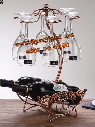Kệ Rượu Vang Hình Nôi 2 Chai