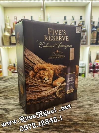 Rượu Vang Bịch Fives Reserve 3L